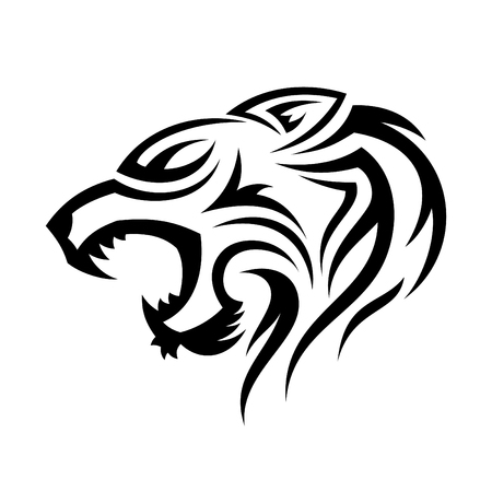 Creative silhouette illustration tribal vector head of tiger design concept. Simple animal wildlife. Vector illustration
