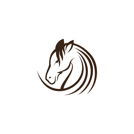 Graphic round head horse icon illustration vector in modern flat style for web. Black head horse icon vector isolated on white background. Vector illustration EPS.8 EPS.10