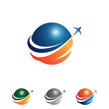 Vector colorful travel agency icon design idea with illustration globe and airplane. Amazing destinations creative symbol concept. Vector illustration EPS.8 EPS.10