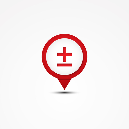 Creative combination plus or minus mathematics symbol and map pointer. Unique vector combination. Vector illustration EPS.8 EPS.10