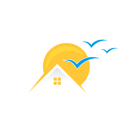 Creative, colorful and fun home sun with blue bird isolated summer icon design. Tropical home icon vector isolated sign symbol. Vector illustration EPS.8 EPS.10