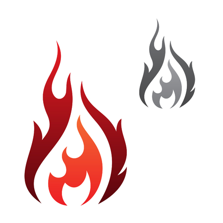 Abstract flaming vector icon isolated on the white background. Flaming fire simple shape sign symbol. Vector illustration EPS.8 EPS.10 Illustration