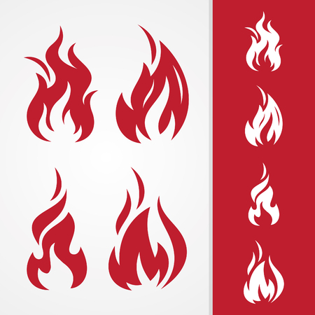 Set tribal fire abstract vector icon isolated on the different background. Flaming fire shape sign symbol. Vector illustration EPS.8 EPS.10