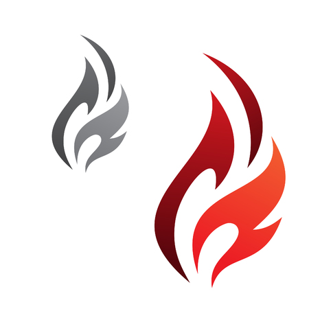 Simple flaming abstract vector icon isolated on the white background. Flaming fire shape sign symbol. Vector illustration EPS.8 EPS.10