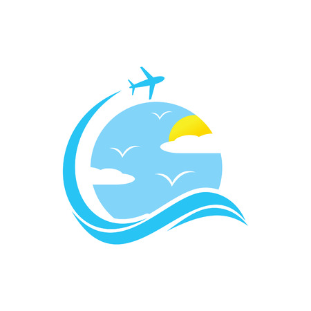 Flight cloud business travel vector design emblem with blue color. Speed travel vector logo template. Vector illustration EPS.8 EPS.10