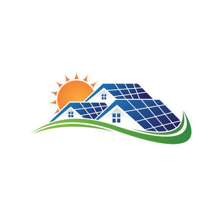 Zonne-huis en zon besparen energiekracht en natuurlijke elektriciteit op zonne-energie. Recycling van energietechnologie voor milieubehoud op aarde. Vector illustratie EPS.8 EPS.10