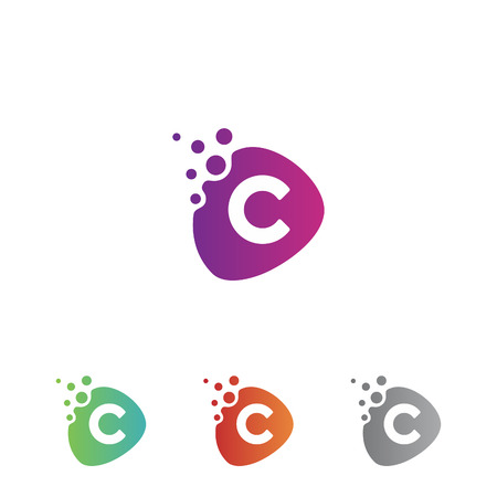Technology design letter C icon vector with dots for mobile APP. Curve design letter C with color blue. Vector illustration Eps.8 Eps.10 Vektoros illusztráció