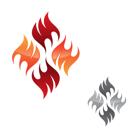 Creative, vector concept design flame icon isolated on the white background. Flaming fire shape sign symbol. Vector illustration EPS.8 EPS.10
