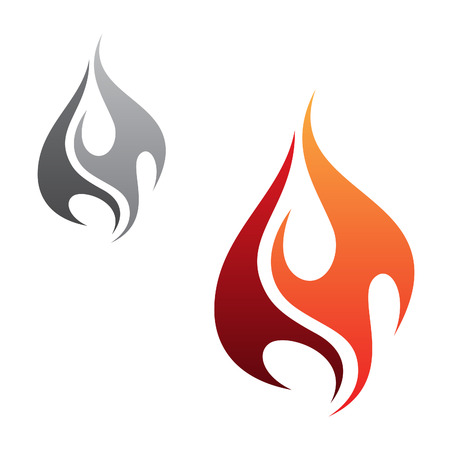 Vector concept design minimalist flame tribal icon isolated on the white background. Flaming fire shape sign symbol. Vector illustration EPS.8 EPS.10