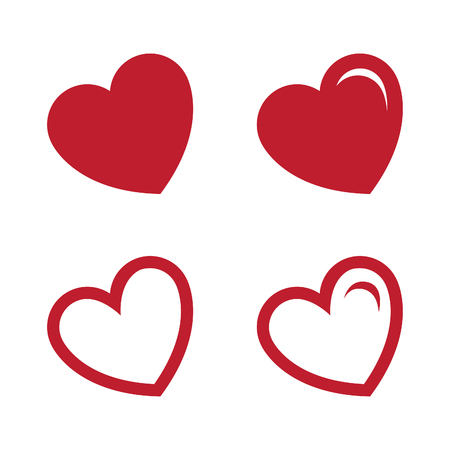 Heart, symbol of love and romantic feelings set vector concept design. Flat heart love vector. Vector illustration EPS.8 EPS.10