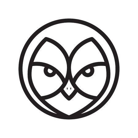 Face owl in line graphic style icon vector in modern flat. Graphic line face owl icon vector isolated on white background. Vector illustration EPS.8 EPS.10 Ilustracja