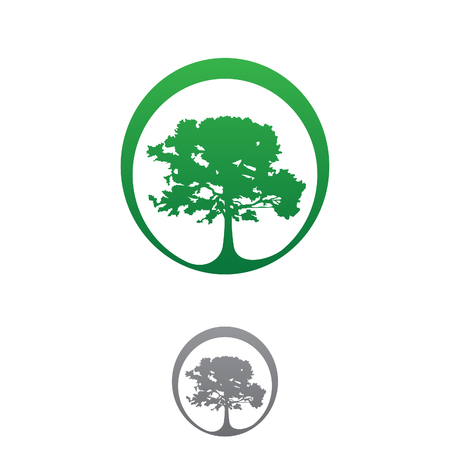 View simple tree with green leaves icon vector concept design. Flat landscape icon vector. Vector illustration EPS.8 EPS.10