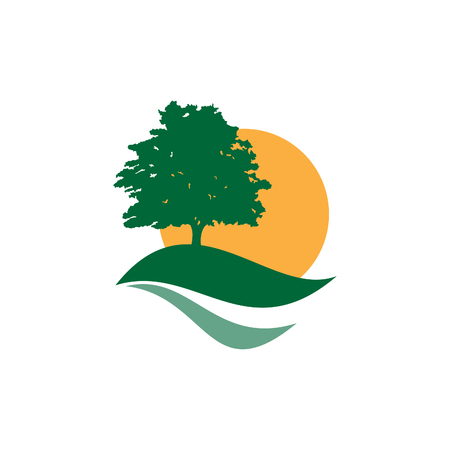 View landscape tree with green leaves and sun icon vector concept design. Flat landscape icon vector. Vector illustration EPS.8 EPS.10