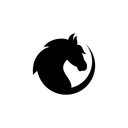 Silhouette round head horse vector icon on the modern flat style for web, graphic and mobile design. Silhouette head horse isolated on white background. Vector illustration EPS.8 EPS.10 Illustration