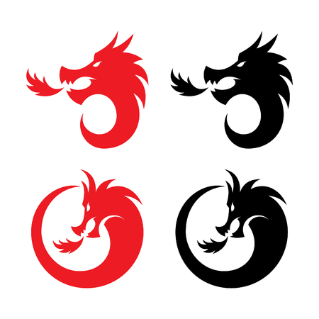 Stylized vector illustrations of dragons silhouettes design in the form of a round on a white background. Creative design vector dragon. Vector illustration EPS.8 EPS.10