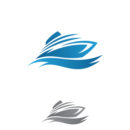 Luxury speed boat vector concept design on the ocean with simple blue wave. Creative ocean ship graphic symbol. Vector illustration EPS.8 EPS.10