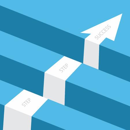 Défi commercial ou conception de concept de vecteur d'obstacle. Étape des affaires avec flèche vers le succès. Illustration vectorielle EPS.8 EPS.10