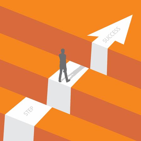 Défi commercial ou concept de vecteur d'obstacle avec un homme d'affaires debout. Étape des affaires avec flèche vers le succès. Illustration vectorielle EPS.8 EPS.10 Vecteurs