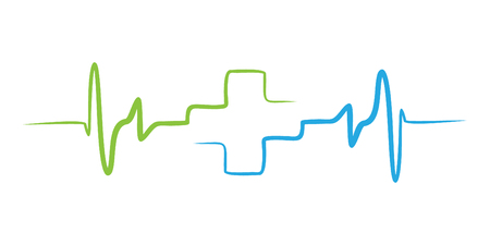Monitor pulse line art icon for medical apps and websites. Breathing and alive sign. Red Medic blood pressure, cardiogram, health EKG, ECG Illustration