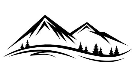 Natura di vettore astratto o silhouette di catena montuosa all'aperto. Montagne e icone di viaggio per organizzazioni turistiche o eventi all'aperto e tempo libero in montagna Vettoriali