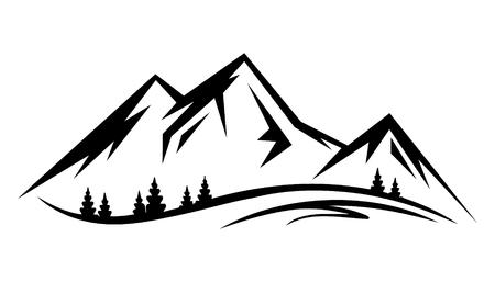 Natura del paesaggio di vettore astratto o silhouette di vista montagna all'aperto. Montagne e icone di viaggio per organizzazioni turistiche o eventi all'aperto e tempo libero in montagna Vettoriali