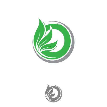 Letter O with green leaf vector ecology symbols. Green leaf nature organic. Vector illustration EPS.8 EPS.10