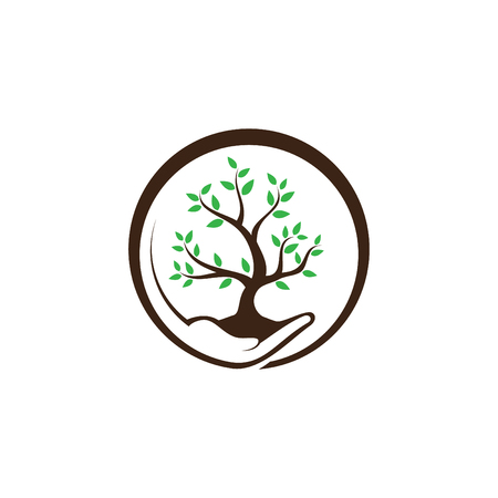 Hand holding plant and grow with green leaf on the white background. Save our tree. Vector illustration EPS.8 EPS.10 Illustration