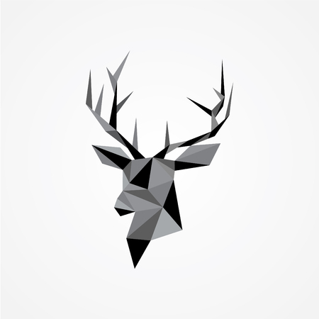 Geometric vector of deers head with antlers isolated on white background. Polygonal design style. Vector illustration EPS.8 EPS.10 Illusztráció