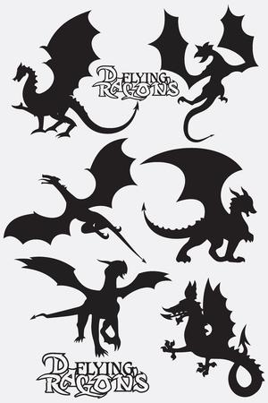 Set black stylized vector illustrations of dragons flying silhouettes. Design vector dragons. Vector illustration EPS.8 EPS.10