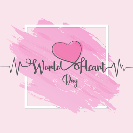 World Heart Day greeting card letter - line heart and cardio pulse trace on globe. Vector illustration concept World Heart Day background for banner or poster. Vector illustration EPS.8 EPS.10