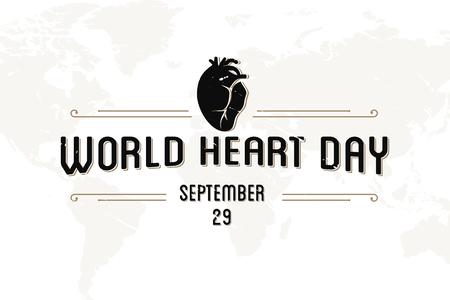 World Heart Day greeting card abstract vintage letter. Vector illustration concept World Heart Day background for banner or poster. Vector illustration EPS.8 EPS.10