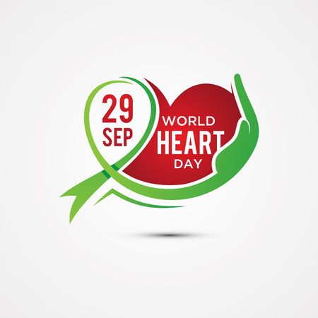 World Heart Day greeting card with graphic element heart, ribbon and hand. Vector illustration concept World Heart Day background for banner or poster. Vector illustration EPS.8 EPS.10