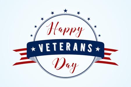 Happy Veterans Day - American flag ribbon with lettering Happy Veterans Day. Veterans Day retro poster card celebration design. Vector illustration EPS.8 EPS.10
