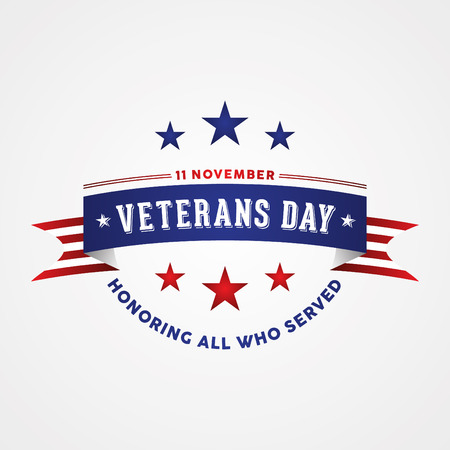 Celebration Veterans Day - Honoring all who served. Holiday poster with american flag ribbon. Vector illustration EPS.8 EPS.10
