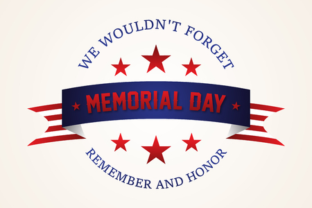 Celebration Memorial day - American flag ribbon with lettering Memorial Day. Memorial Day retro poster card celebration design. Vectores