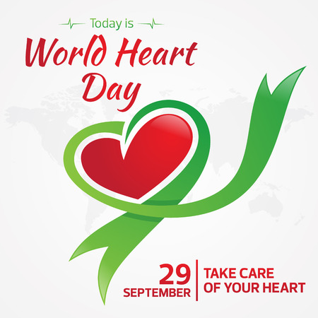 Today is World Heart Day greeting card with graphic map and heart ribbon. Vector illustration concept World Heart Day background for banner or poster.