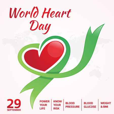 World Heart Day greeting card with graphic map and heart ribbon. Vector illustration concept World Heart Day background for banner or poster.