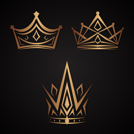 Set of elegance crowns icon vector on the black background. Crowns King and Princess. Ilustração