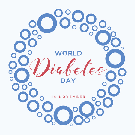 World Diabetes Day Banner with a Blue circle symbol of World Diabetes Day. Concept design of the day of diabetes. Vectores