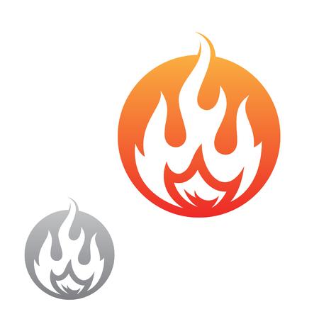 Simple fire inside round vector icon for graphic design, web and app. Energy hot fire sign symbol. Vektoros illusztráció