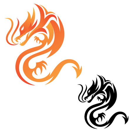 Icona di vettore di fuoco drago tribale per progettazione grafica, web e app. Mitologia animale di disegno astratto.