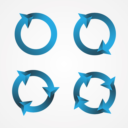 Set icon 2D circular arrow sign symbol on the white background. Simple rotation arrow with color blue. Vector illustration EPS.8 EPS.10 일러스트