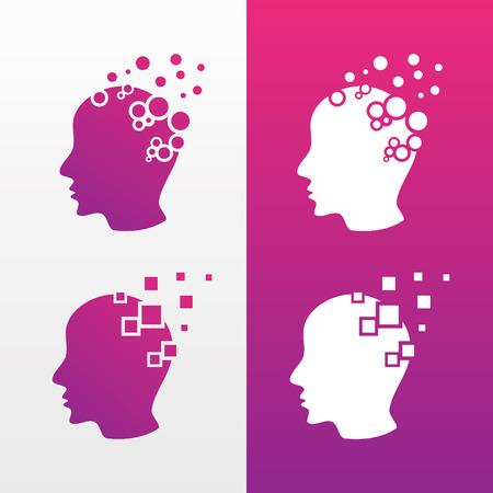 Icônes de conception de technologie de tête vectorielle avec couleur de variation. Symbole de personnes tête d'homme. Illustration vectorielle EPS.8 EPS.10