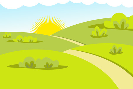 Flat design vectore landscape nature with road and sun. Nature vector color background. Vector illustration EPS.8 EPS.10