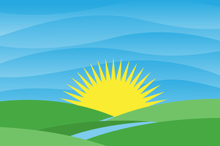Flat design landscape nature with river flows towards to the sun for poster, background or wallpaper. Nature vector color background. Vector illustration EPS.8 EPS.10