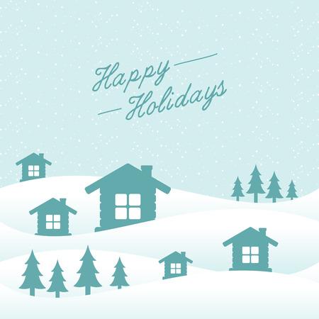Flat design background winter with letter happy holidays. Flat design landscape nature background. Vector illustration EPS.8 EPS.10 Ilustracja