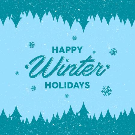 Flat design background with letter Happy Winter Holidays for greeting card. Flat design background vector. Vector illustration EPS.8 EPS.10 Ilustracja