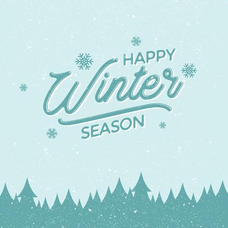 Flacher Designhintergrund mit Buchstabe Happy Winter Season für Grußkarte. Flaches Design-Hintergrund-Vektor. Vektorabbildung EPS.8 EPS.10