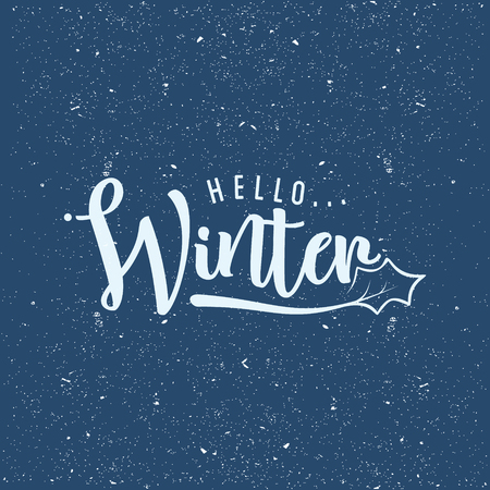 Flat design background with letter Hello Winter for greeting card. Flat design background vector. Vector illustration EPS.8 EPS.10