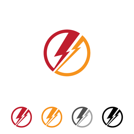 Flat round thunder for web or app symbol with different color. Electric danger light power voltage flash thunder icon symbol design template element. Thunder icon simple sign for symbol, web, app, UI. Vector illustration EPS.8 EPS.10 Vettoriali